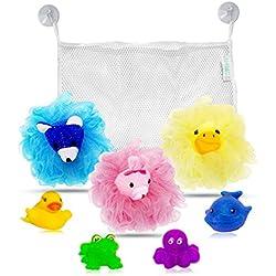 My Rub-A-Dub Bath Caddy Baby Bath Toys Organizer Bundle, Set of 9