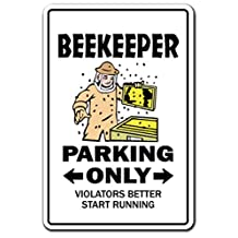 [SignJoker] BEEKEEPER Parking Sign gag novelty gift funny bumble honey hive bees insects Wall Plaque Decoration