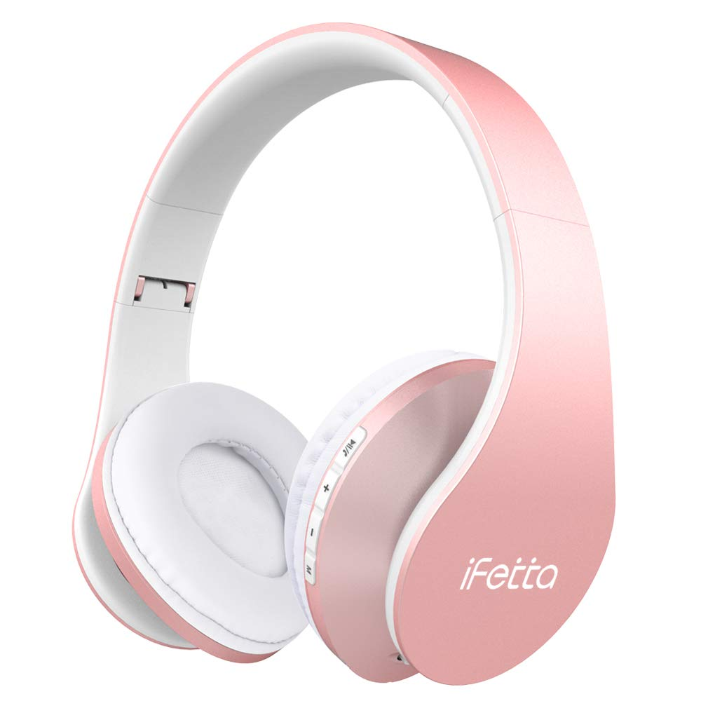 Ifecco Auricolare Wireless Cuffie, Bluetooth Cuffie Pieghevole con Microfono Incorporato/Lettore MP3/Radio FM, Supporta la modalità di Chiamata a Mani Libere/PC/Cellulare (Oro Rosa)
