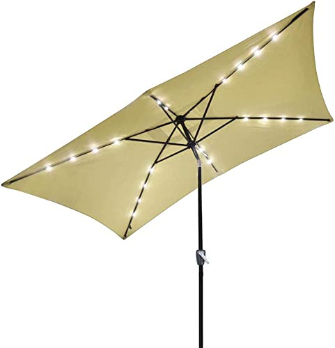 Access Store 10 x-6.5 Rectangle Solar Patio Umbrella Aluminum w LED Lights Beige 9