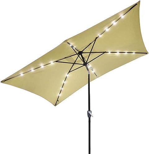 Access Store 10 x-6.5 Rectangle Solar Patio Umbrella Aluminum w LED Lights Beige 9