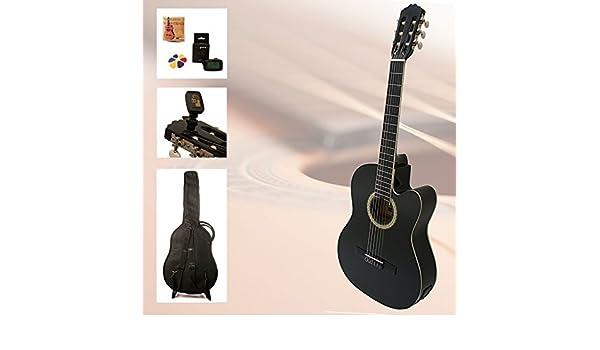 Set de guitarra de principiantes Black Kiss - 4/4 Guitarra Negro eléctrico de concierto con accesorios, Guitarra, afinador, cuerdas de repuesto de clip, ...