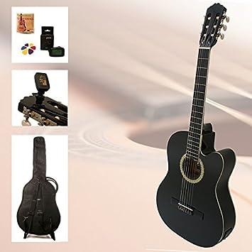 Set de guitarra de principiantes Black Kiss – 4/4 Guitarra Negro eléctrico de concierto