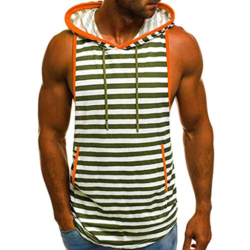 (LEXUPA Men's t-shirts funny Men's Summer Casual Stripe Print Hooded Sleeveless T-shirt Top Vest Blouse(ArmyGreen,Large))
