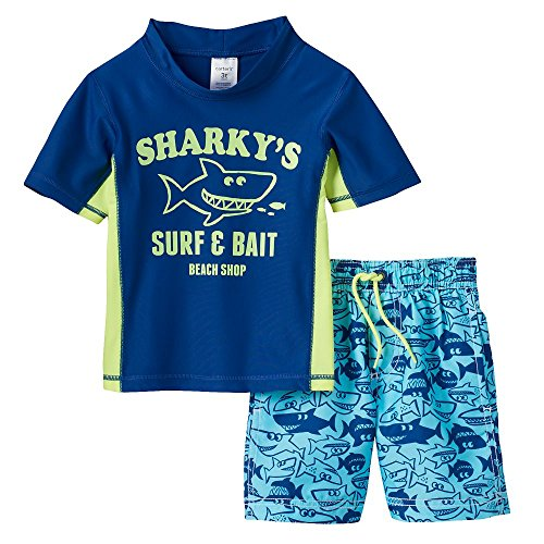 Carter's Little Boys' Toddler Two-Piece Submarine Shark Swim Set (24 months, Surf & Bait) (Submarine Bathing Suits)