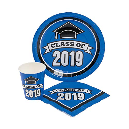 Fun Express - Class Of 2019 Blue Tableware Set For 50 for Graduation - Party Supplies - Print Tableware - Misc Print Tableware - Graduation - 200 Pieces ()