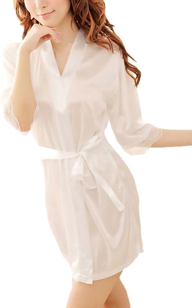 Saoye Fashion Batas Mujer Elegante Pijama Corto Bata Lencería Color Sólido Media Manga Albornoz Camisón: Amazon.es: Ropa y accesorios