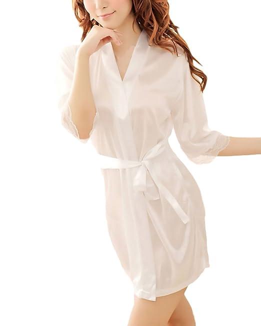 Batas Mujer Elegante Pijama Corto Bata Lencería Color Sólido Media Manga Albornoz Joven Bastante Camisón Women