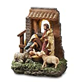 The San Francisco Music Box Company Holy Family in Stable Window Musical Nativity Figurine