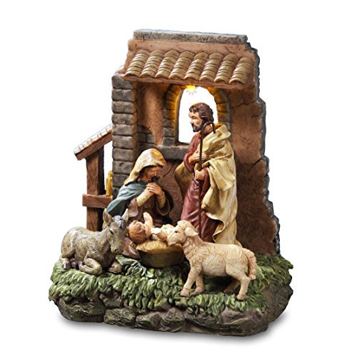 THE SAN FRANCISCO MUSIC BOX COMPANY Holy Family in Stable Window Musical Nativity - Music Nativity Box
