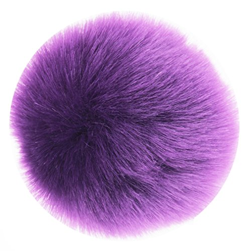 DIY 3.5INCH 12pcs Faux Fur Pom Pom Soft Faux PomPom Handmade Craft Supply (Purple)