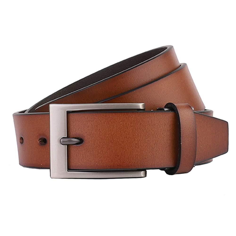 Tanpie Men Leather Dress Belt Fashion Brown Strap for Pants