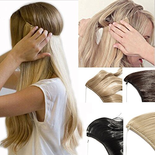 2-5 Days Delivery Best Synthetic Hair Extensions 24 inches Curly Straight Full Head Invisible Wire Secret String No Clips in Hair Extensions Secret Fish Line Hairpieces (bleach blonde)