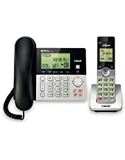 VTech CS6949 DECT 6.0 Corded/Cordless Telephone System, Black/Silver