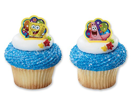 CakePicke cake cupcake topper SpongeBob SquarePants Balloons Cupcake Rings - 12 Ct