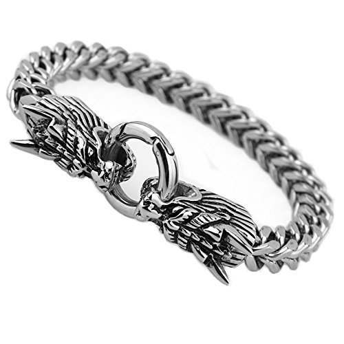 FANS JEWELRY New Stainless Steel Wheat-Chain Dragon Head Bangle Bracelet 8.66
