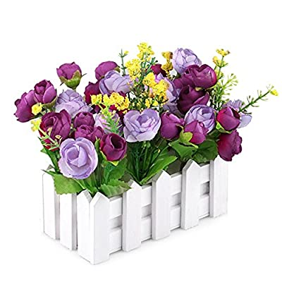 JAROWN Artificial Flowers MINI Louis Garden Fake Rose In Picket Fence Pot Pack For Home Decoration
