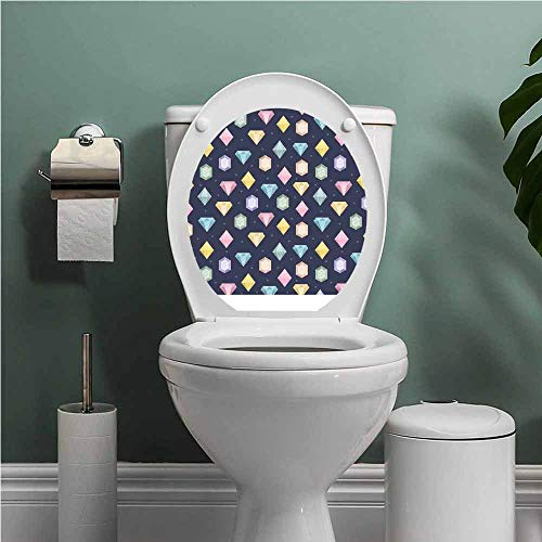 Dale Earnhardt Seat Covers - SCOCICI1588 Colorful Toilet Seat Tattoo Cover Graphic Gemstones with Different Shapes Trillion Drop and Marquise Cut Pattern Vinyl Bathroom Decor Multicolor W15XL17 INCH