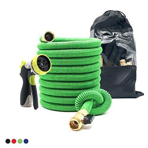 Expandable Garden Hose 50 Ft Strong reel. Brass Connectors w/Protectors 100% No-Rust & Leak. Accesories: 8-Way Spray Metal Nozzle & Storage bag. Best Water Hose f/Pocket Use. Flex Expanding. (green)