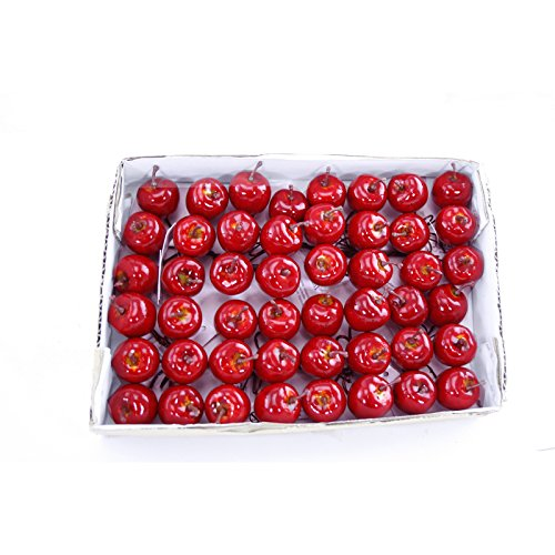 FloristryWarehouse Artificial Mini Apple Pick Deep Shiny Red 1 Inch Diameter Box of 48 (Apple Embellishments)