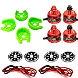 LHI DX2205 2300KV RC Brushless Motor + 4 Pcs Motors Protected Base +4 Pcs LED Circle Board for FPV Racing Drones (2CW + 2CCW)