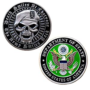Army Death Smiles Challenge Coin! Amazing U.S. Army Challenge Coin. from Jia Ying Xin