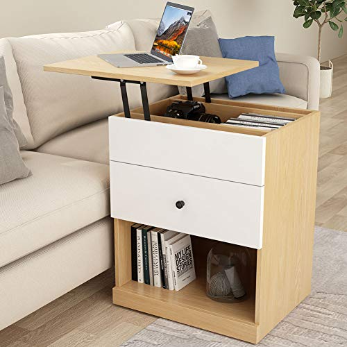 - Tribesigns Sofa Couch Side Table Mobile End Table with Lift Top for Laptop, Height Adjustable Bedside Table Small Laptop Desk with Drawer and Storage Shelf for Bed