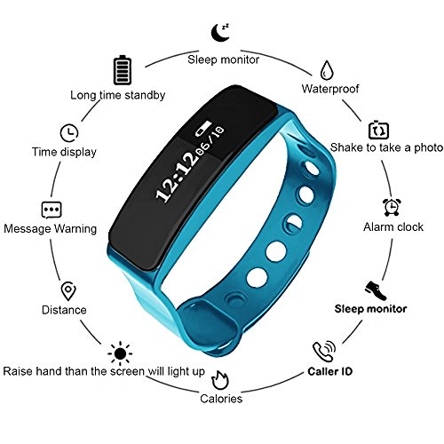 INFINITECH Bluetooth Fitness & Personal Activity Tracker Wristband (Waterproof) Monitor Calories Burned, Pedometer, Sleep Tracking | Call, Text Alerts | iOS, Android