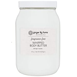 Ginger Lily Farms Botanicals Fragrance-Free Whipped Body Butter, Deeply Hydrating, Non-Greasy, Residue-Free, 59 Oz