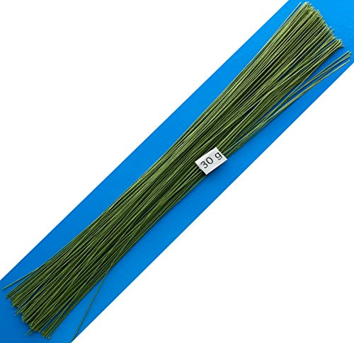 30 Gauge Green Cotton Covered Floral Wire - 120 feet per Bundle (36.6m) in 12 inch (30.5cm) Lengths (Cloth Covered Floral Wire)