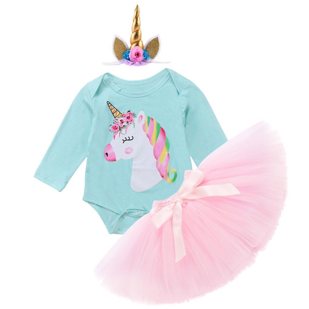 d3399c9e1 Girl Newborn Its My First Birthday Cartoon Costume Party Outfits Romper+Tutu  Skirt+Flower ...