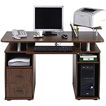 TANGKULA Computer Desk Work Station Office Home With Printer Shelf  Furniture Walnut