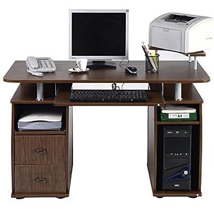 Merveilleux TANGKULA Computer Desk Work Station Office Home With Printer Shelf Furniture  Walnut