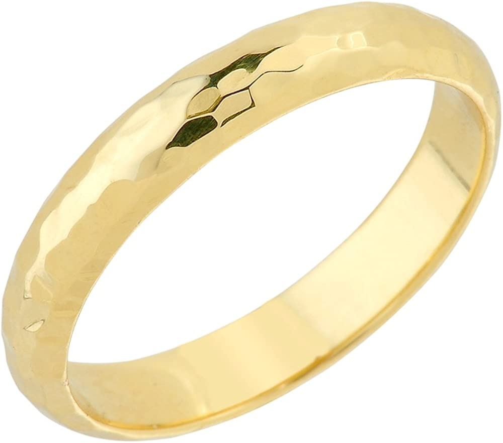 Modern Contemporary Rings Solid 10k Yellow Gold 4 mm Hammered Wedding Band