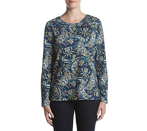 (Studio Works Printed Knit Top Blue Paisley Small)