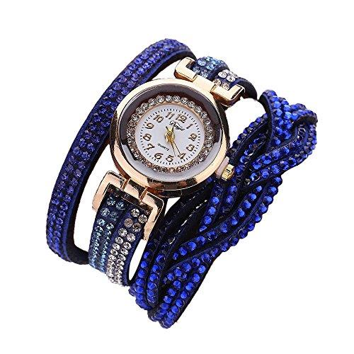 - YaidaDuoya Brand Watches Women Luxury Crystal Women Gold Bracelet Quartz Wristwatch Rhinestone Clock Ladies Dress Gift Watches (Dark Blue)