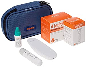 iHealth Smart Wireless Gluco Monitoring with 100 Test Strips, 10 Lancets, & Solution, 1.7 Pound