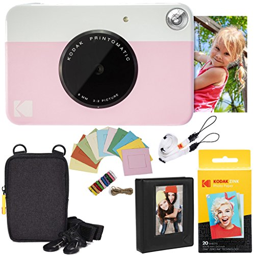 Kodak Printomatic Instant Camera (Pink) Deluxe Bundle + Zink Paper (20 Sheets) + Deluxe Case + Photo Album + Hanging Frames + Comfortable Neck Strap