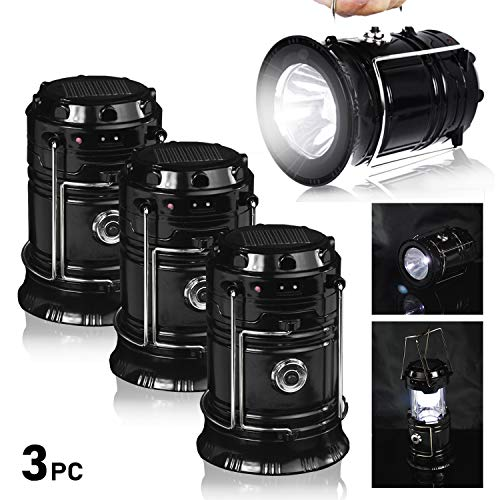 Dual Lanterns - PARTYSAVING [3-Pack 2-in-1 Solar Rechargeable LED Lantern with Dual Power Supply and Built-in Power Bank, APL2190