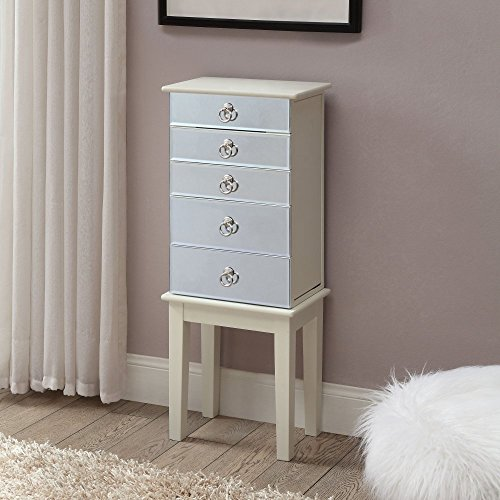 - Linon Eva Mirrored Jewelry Armoire in White