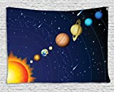 Ambesonne Space Tapestry Decor, Solar System with Sun Uranus Venus Jupiter Mars Pluto Saturn Neptune Image, Wall Hanging for Bedroom Living Room Dorm, 60 W X 40 L inches, Dark Blue Orange