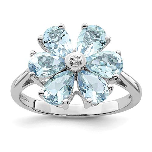 - 925 Sterling Silver Aqua Diamond Flower Band Ring Size 7.00 Flowers/leaf Gemstone Fine Jewelry Gifts For Women For Her
