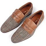 Ferro Aldo Men Fashion Slip On Loafers Dress Shoes Leather Lining Brown Plaid