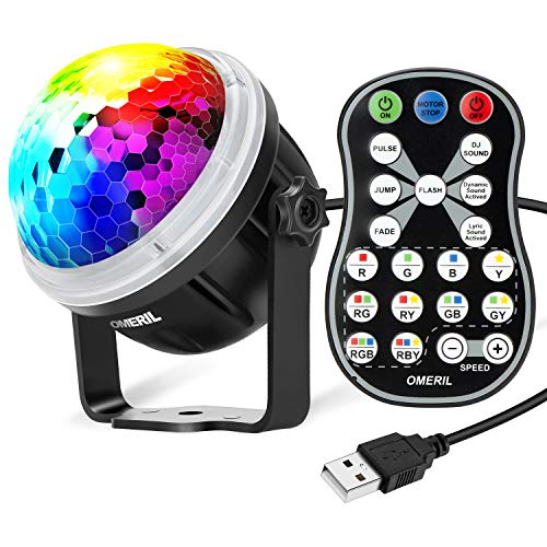 OMERIL Party Lights Disco Ball, USB Powered Disco Lights Sound Activated Strobe Light with Remote Control, 11 RGBY Color DJ Lights for Home Room Parties Birthday Bar Karaoke Xmas Wedding Show Club
