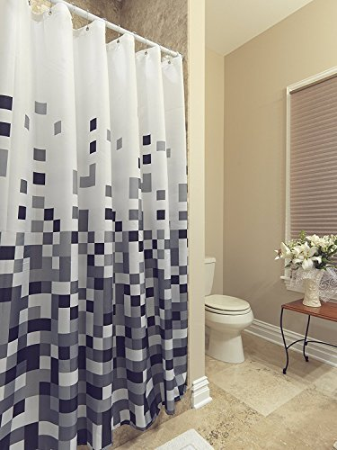 AZK DR210-70X70 Shower Curtain Polyester Pixels Design with Reinforced Grommet, 71
