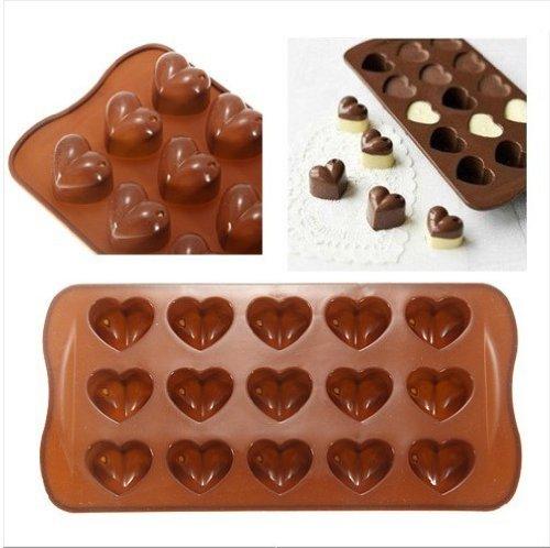 Silikonform Herz Förmig Eis Schokolade Kuchen Gelee Bonbon Form Mini Schale Suppenwürfel - Braun, Herzform