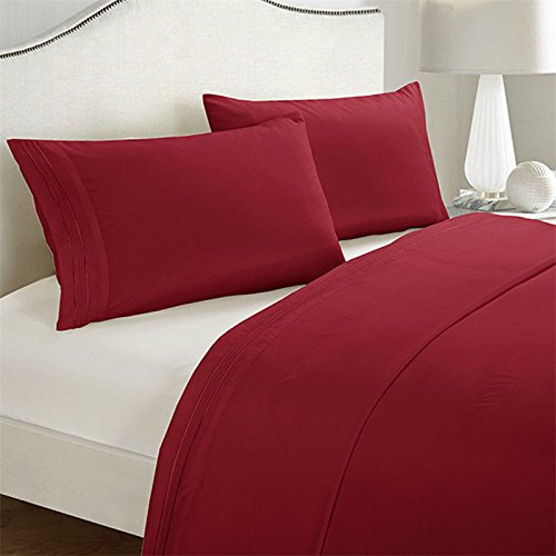 Egyptian Comfort 1800 Count Hotel Quality Deep Pocket Bed Sheet Set Twin/Burgundy