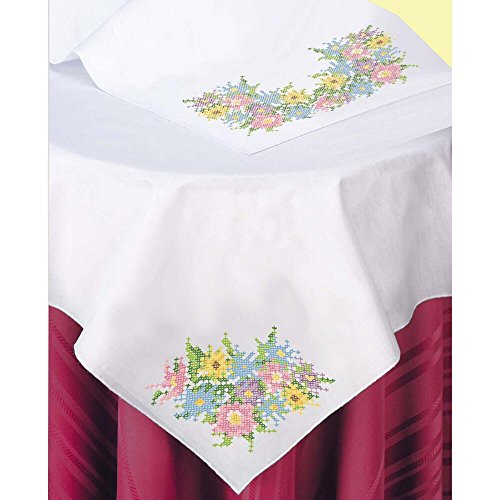 Herrschners® Spring Floral Bouquets Table Topper & Runner Stamped Cross-Stitch - Floral Stamped Cross Stitch