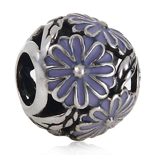 - Purple Daisy Charm Authentic 925 Sterling Silver Flower Beads Charm for DIY Charms Bracelets