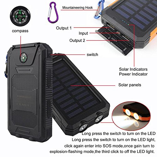 Eachbid Dual USB carga, banco de la energía, 20000 mAh luz LED ...